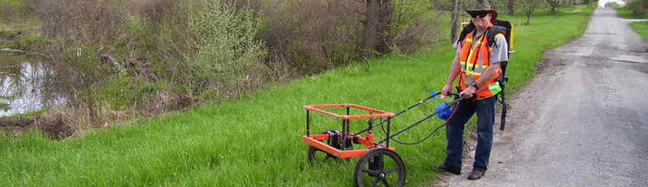 Ground Penetrating Radar on Lush Green Lawn